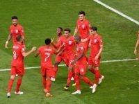 Timnas Inggris Rayakan Gol Usai Bobol Gawang Swedia Memastikan Lolos ke Semifinal