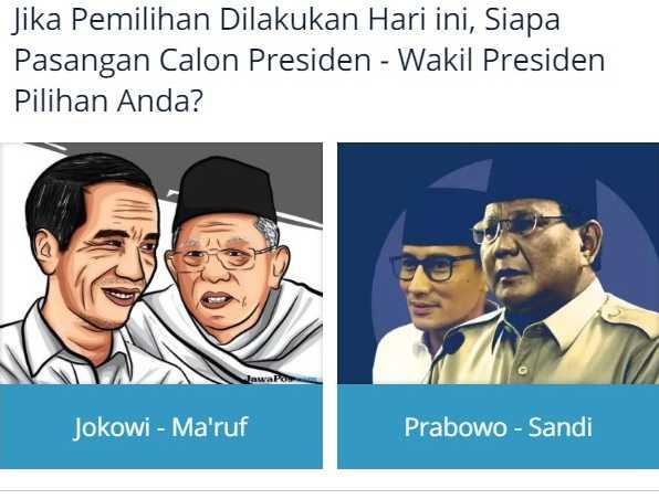 Polling Pilpres 2019: Jokowi-Maruf vs Prabowo-Sandi