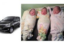 Bayi kembar tiga lahir di mobil diberi nama avanza