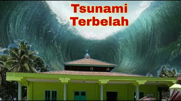 Ilustrasi Tsunami Terbelah Melompati Masjid