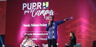 Kementerian Pekerjaan Umum dan Perumahan Rakyat Goes to Kampus bersama Metro TV, di Aula Mall Universitas Muhammadiyah (Unismuh), Makassar (8/11).