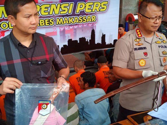 Konferensi pers di Mako Polrestabes Makassar, Rabu (12/12/2018).