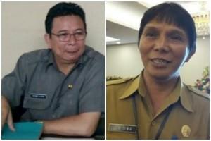 Kadis Pendidikan Fietber Raco dan Kepala Badan Kepegawaian dan Diklat Minahasa Selatan Roy Tiwa.