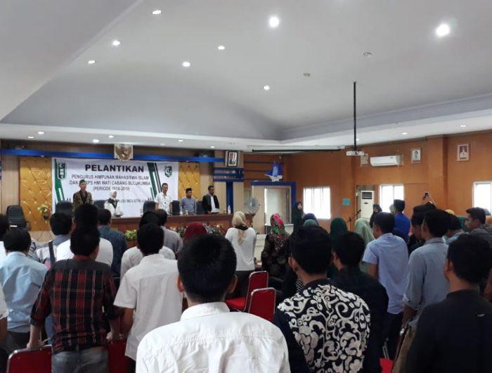 Suasana pelantikan Pengurus HMI Cabang Bulukumba Periode 2018-2019 di Ruang Pola Kantor Bupati, Sabtu (26/1/2019).