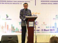 Gubernur Sulawesi Selatan, Nurdin Abdullah (NA) saat menghadiri Rapat Kerja dan Konsultasi Provinsi 2019 DPP Apindo Sulsel, di Ballroom Hotel Claro, Makassar, Senin (18/3).