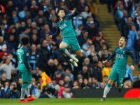 Son melompat kegirangan usai membuat gol. Foto: Reuters/Jason Cairnduff.