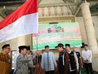 Pelepasan Calon Jamaah Haji 1440 H/2019 M asal Makassar di masjid Raya Makassar, Minggu (23/06/2019)