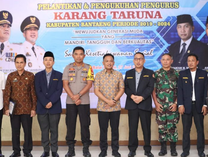 pelantikan pengurus Karang Taruna Bantaeng di Balai Kartini, Kamis, 27 Juni 2019