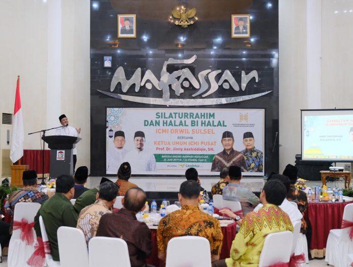 Silatuhrahmi dan Halal Bihalal bersama ICMI Organisasi Wilayah (Orwil) Sulsel di Baruga Anging Mammiri Rujab Walikota Makassar, Rabu (26/6).
