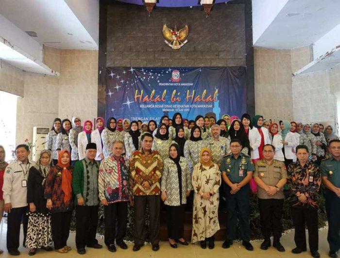 Halal Bihalal Dinas Kesehatan Kota Makassar di Gedung Ex Sentra Graha PKK, Jl Anggrek Raya No. 2, Kamis (13/6/19).