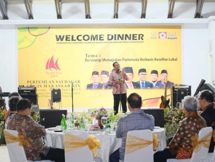 Welcome Dinner Pertemuan Saudagar Bugis Makassar (PSBM) Ke-XIX (19) berlangsung di Rumah Jabatan Gubernur Sulsel, Sabtu (15/6/2019) malam.