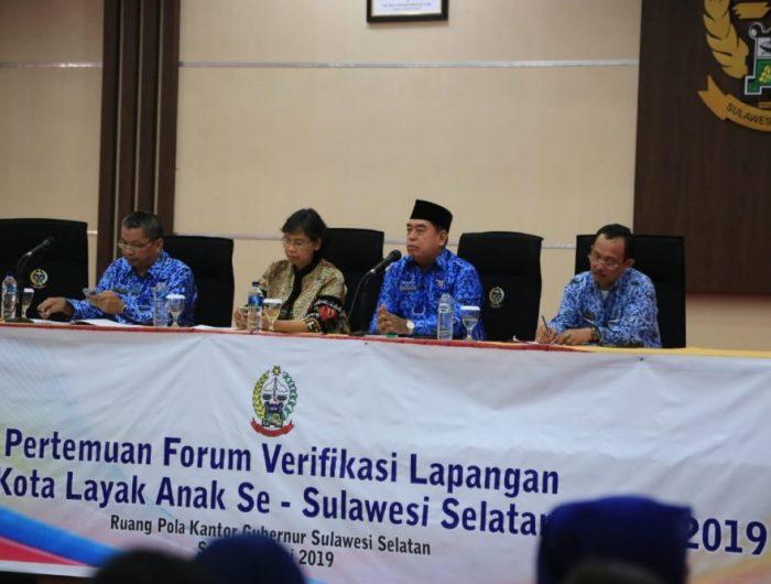Pertemuan Forum Verifikasi Lapangan Kabupaten/Kota Layak Anak se-Sulawesi Selatan.