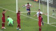 Pemain Paraguay Mencetak Gol ke Gawang Qatar, Senin (17/6/2019)