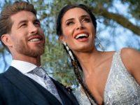 Sergio Ramos bersama istrinya Pilar Rubio berpose di acara pernikahannya, Minggu (16/6/2019)