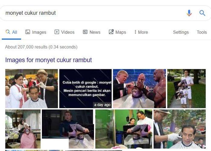 Saat mengetik monyet cukur rambut di mesin pencari Google, maka akan muncul gambar Jokowi dan Donald Trump.