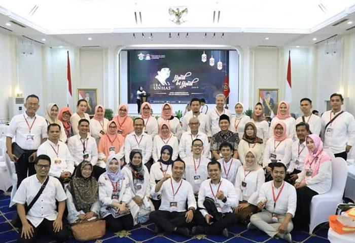 Halal Bihalal Ikatan Keluarga Alumni (IKA) Unhas 2019 di Istana Wakil Presiden, Jakarta Pusat, Sabtu (6/7/2019)