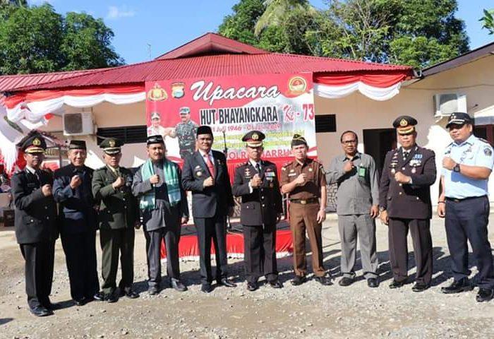 Bupati Barru pimpin upacara peringatan HUT Bhayangkara ke-73 tahun.