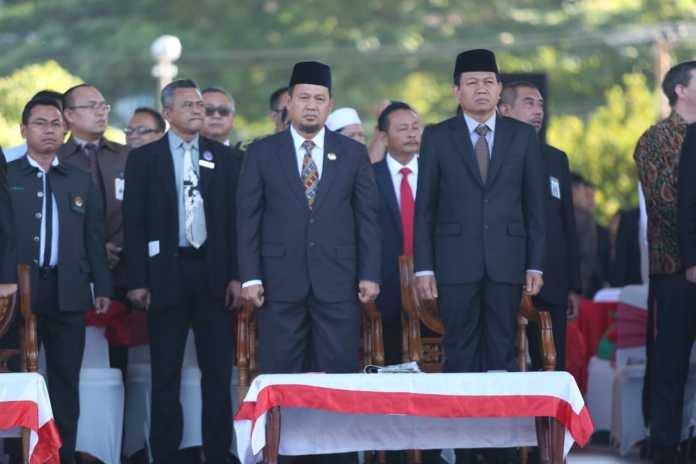 Pj Wali Kota Makassar Iqbal Suhaeb hadiri peringatan HUT ke-73 Bhayangkara di Lapangan Karebosi, Makassar, Rabu (10/7/2019). (ist)