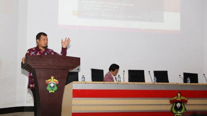M Iqbal S Suhaeb saat memaparkan komitmen Pemerintah Kota Makassar dan Strategi Implementasi Kawasan Tanpa Rokok (KTR) di Kota Makassar, di Aula Prof Ahmad Amiruddin, Sabtu (13/7/2019)