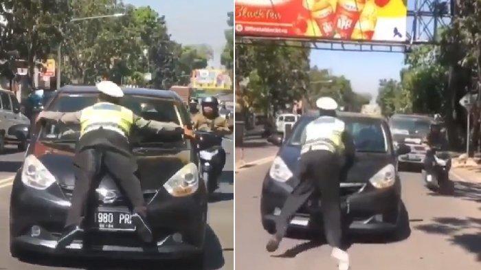 Viral video seorang polisi terseret dan menempel di Mobil.