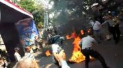 Polisi dibakar di Cianjur. (ist)