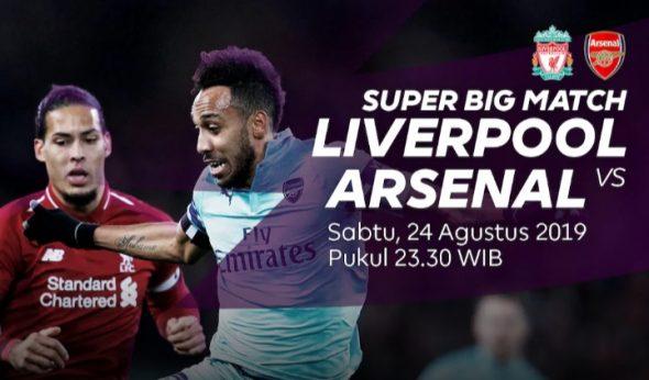 Live streaming liga inggris Liverpool vs Arsenal
