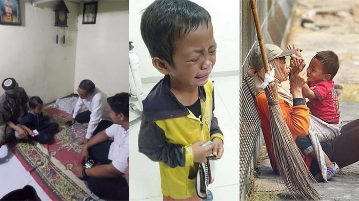 Saat si Anak menangisi kepergian ibunya yang merupakan Satgas Kebersihan (Foto: Facebook)
