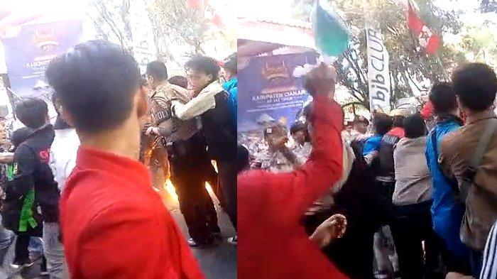 Tangkapan layar video lain soal insiden polisi terbakar hidup-hidup di Cianjur saat amankan aksi demo. (Istimewa.)