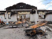 Salah satu bangunan yang hangus terbakar saat terjadi kerusuhan di Wamena, Kabupaten, Jayawijaya, Papua, pada 23 September lalu, Rabu (25/9/2019)