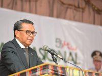 Gubernur Sulsel, Prof HM Nurdin Abdullah (NA) bertindak sebagai Keynote Speaker pada Seminar Nasional KAHMI Kota Makassar. (Ist)