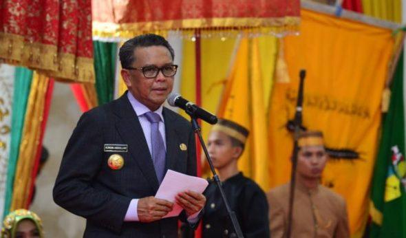 Prof Nurdin Abdullah dalam sambutan di Penobatan Karaeng Turikale yang digelar di Gedung Serbaguna Pemkab Maros, Jl Asoka, Kecamatan Turikale, Maros, Kamis (5/9).