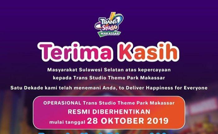 Operasional Trans Studio Theme Park Makassar Resmi Diberhentikan