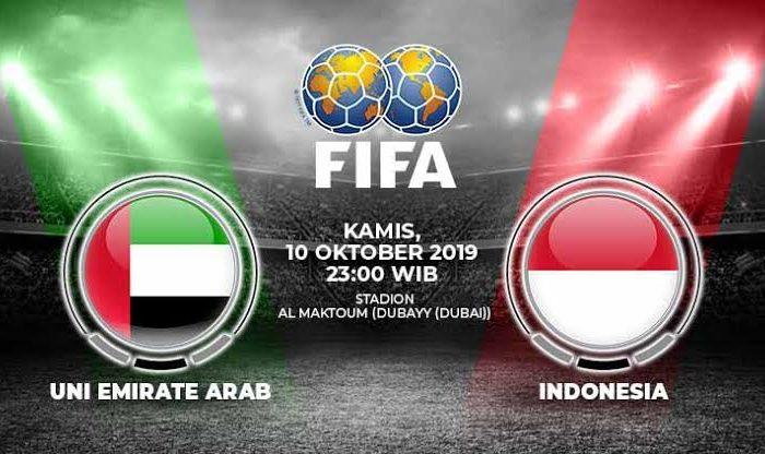 Pertandingan Uni Emirat Arab vs Indonesia.