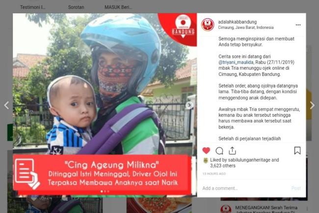 Driver ojek online di Bandung kerja sambil gendong anak. (Foto: tangkapan layar instagram)