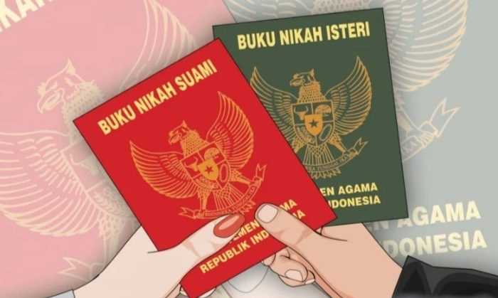 Ilustasi buku nikah di Indonesia. (Ilustrasi: Fa Vidhi Asnan/ngopibareng.id)