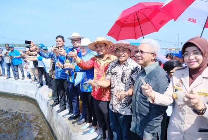Menteri Kelautan dan Perikanan, Edhy Prabowo Resmikan Industri Udang di Barru