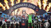Manchester City saat Merayakan Gelar Juara FA Cup 2019 di Hillsborough, 4 Maret 2019 lalu