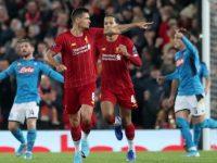 Selebrasi Dejan Lovren usai mencetak gol dalam laga Liverpool vs Napoli (c) AP Photo