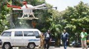 NasDem Makassar Semprot Disinfektan Pakai Drone