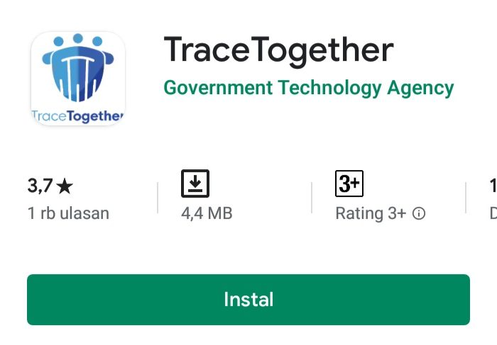 Aplikasi Pelacak Virus Corona TraceTogether di App Store