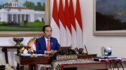 Presiden Jokowi saat mengikuti Konferensi Tingkat Tinggi (KTT) Gerakan Non-Blok (GNB) secara virtual dari Istana Kepresidenan Bogor, Senin malam, (4/5/2020).