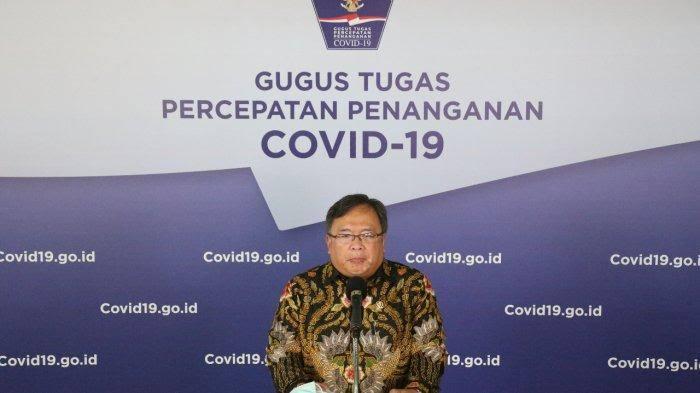 Menristek/Kepala BRIN Bambang Brodjonegoro saat memberikan keterangan di kantor Graha BNPB Jakarta