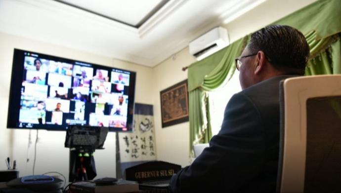 Webinar dengan Hiroshima Jepang, Gubernur Sulsel Bahas Penanganan Covid-19