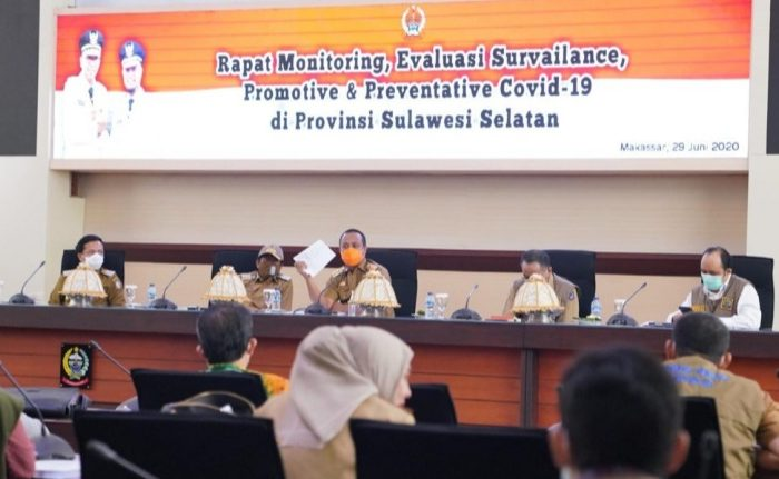 Wakil Gubernur Sulawesi Selatan (Sulsel), Andi Sudirman Sulaiman, memimpin Rapat Monitoring, Evaluasi Survailance, Promotive dan Preventative Covid-19.