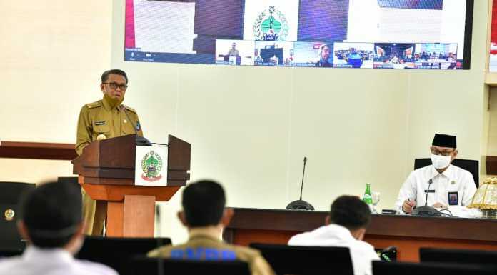 Gubernur Sulsel Prof Nurdin Abdullah memimpin rapat koordinasi pengawasan daerah akuntabilitas percepatan penanganan Covid-19