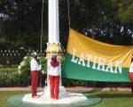 Latihan pengibaran bendera upacara Hari Ulang Tahun ke-75 Kemerdekaan Republik Indonesia di Istana Merdeka, Jakarta, (12/7/2020).