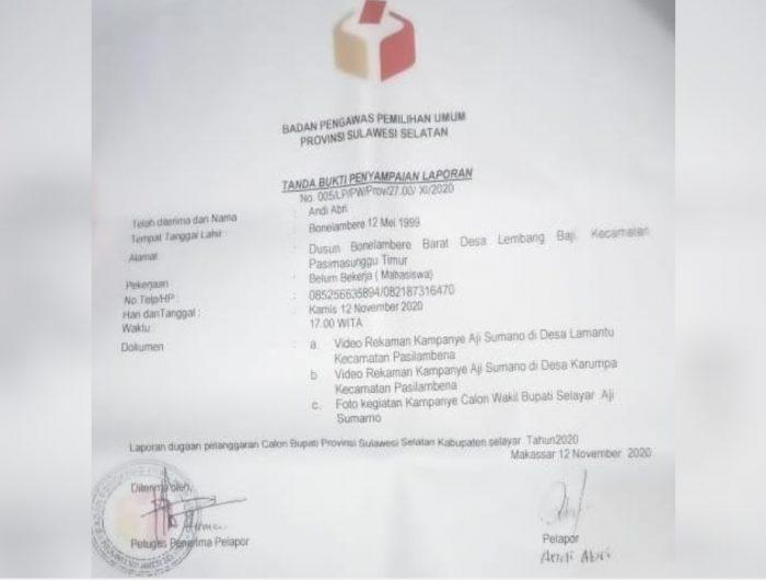 Laporan dugaan pelanggaran Paslon Nomor Urut 1, Aji Sumarno.