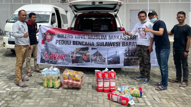Bikers Love Muslim Makassar Salurkan Bantuan untuk Pengungsi Gempa Sulbar