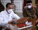 Presiden Jokowi melaporkan SPT Tahunan melalui aplikasi daring e-filling, di Istana Merdeka, Jakarta, Rabu (03/03/2021).