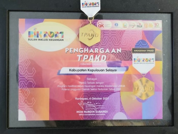 Pemkab Selayar Raih Penghargaan TPKAD Award 2021